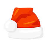 Vector of red Santa Claus hat isolated on white. Cartoon style.  Royalty Free Stock Photography