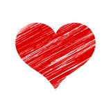Vector Red Scratched Heart Icon Over White Royalty Free Stock Photos
