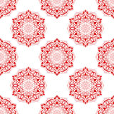 Vector Red Seamless Mandala Pattern over white Royalty Free Stock Images