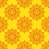 Vector Red Seamless Mandala Pattern over yellow Royalty Free Stock Photos
