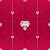 Vector red seamless pattern with hearts. Vector red seamless pattern with ornate hearts. Vintage design element in Eastern style. Ornamental lace tracery Stock Photography