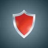Vector red shield. Defense icon. Protection concept. Royalty Free Stock Photos