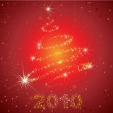 Vector red shining Christmas background. With 2010 and Christmas tree from stars on the sky (from my Christmas collection royalty free illustration