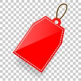Vector Red Shining Rectangle Blank Tag With Soft Shadow At Transparent Effect Background Stock Image