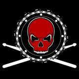 Vector red skull on chainsaw drum. Vector tshirt design with red skull on chainsaw drum Royalty Free Stock Photo