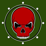 Vector red skull drum. On the khaki background Stock Photography