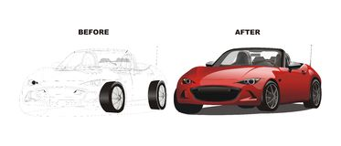 Vector of before after red sport car drawing Royalty Free Stock Photos