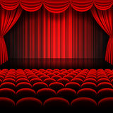 Vector Red Stage Curtains. A vector illustrations of a Theater stage with red Full Stage Curtains Royalty Free Stock Photography