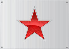 Vector red star on aluminum background Royalty Free Stock Photos