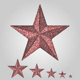 Vector red star with elements of sequins. Royalty Free Stock Image