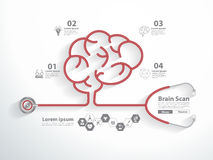 Vector red stethoscope in shape of brain scan. Red Stethoscope in shape of brain scan with science icons, Vector illustration modern layout template idea concept royalty free illustration