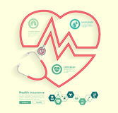Vector red stethoscope in shape of heart Royalty Free Stock Photos