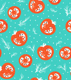 Vector red tomatoes seamless pattern.Grunge hipster food background. Vegetable retro texture for design. Stock Photo