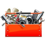 Vector Red Toolbox with Car Parts Royalty Free Stock Images