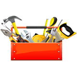Vector Red Toolbox with Hand Tools Stock Photos