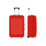 Vector red travel bags or suitcases. Isolated on white. Stock Photos