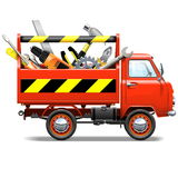 Vector Red Truck with Toolbox. Isolated on white background Stock Photos