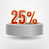 Vector red twenty five discount on flying podium Royalty Free Stock Photos