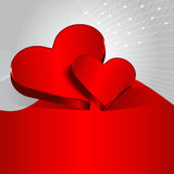 Vector red Valentine background with two hearts. Royalty Free Stock Images