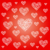 Vector red valentine festive pattern background with irregular white sketchy hearts Royalty Free Stock Images