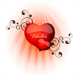 Vector Red Valentine Heart. Vector glossy Red Valentine Heart Royalty Free Stock Images