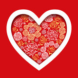 Vector Red Valentines Day Card with flower hearts Stock Photos