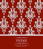 Vector Red Vintage Invitation Card with 3d Floral Damask Pattern Royalty Free Stock Photography
