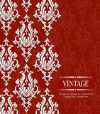 Vector Red Vintage Invitation Card with Floral Damask Pattern Stock Image
