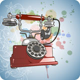 Vector Red Vintage Telephone & Floral Ornament Royalty Free Stock Photography