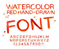 Vector red watercolor font, handwritten letters. ABC Royalty Free Stock Images