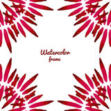 Vector red watercolor frame. Vector border frame. Can be used for banner, cards, flayer, wedding invitation. S Royalty Free Stock Photos