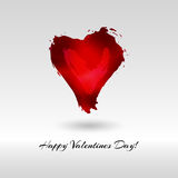 Vector red watercolor heart. Happy Valentine`s day greeting card Royalty Free Stock Photos