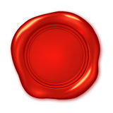 Vector red wax seal isolated on white Stock Photos