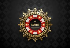 Vector red white casino poker chip with luminous light elements and golden crown wreath frame. Black silk geometric card suits. Background. Blackjack or online royalty free illustration