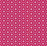 Vector red and white geometric seamless pattern with small flowers, grid, net. Vector geometric seamless pattern with small flower silhouettes, snowflakes, stars stock illustration