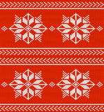 Vector red and white knitted background. Repeating Nordic Scandinavian pattern, yarn stitches texture Royalty Free Stock Photos