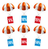Vector red and white parachute with paper bag sale Royalty Free Stock Photo