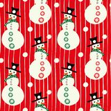Vector red and white smiley snowmen with hats, with snowballs linear seamless pattern background. stock image