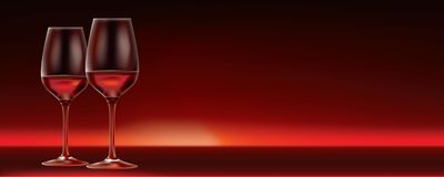 Vector red wine for two. 2 glasses of red wine on dark red background. Perfect for a restaurant wine menu or sign. Lots of copy space available on the right of Royalty Free Stock Photo