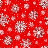 Vector red winter seamless pattern, background with 3D paper cut out  snowflakes Royalty Free Stock Images