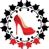 Vector red woman shoes logo Royalty Free Stock Images