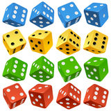 Vector red, yellow, green and blue dice set stock illustration