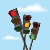 vector red, yellow and green traffic lights Stock Photography