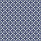 Vector redondo árabe inconsútil del azul añil de la porcelana y blanco del modelo stock de ilustración