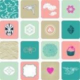 Vector reeks abstracte symbolen Stock Afbeeldingen
