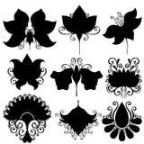 Vector reeks bloemen Geïsoleerde stencils Stock Fotografie