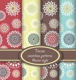 Vector reeks bloemen naadloze patronen Royalty-vrije Stock Afbeelding