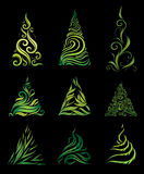 Vector reeks decoratieve Kerstbomen Royalty-vrije Stock Foto's