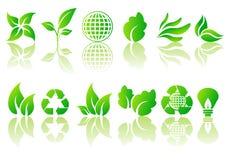 Vector reeks ecologische symbolen Stock Foto