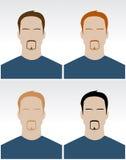 Vector reeks eenvoudige mannelijke gezichten Stock Foto